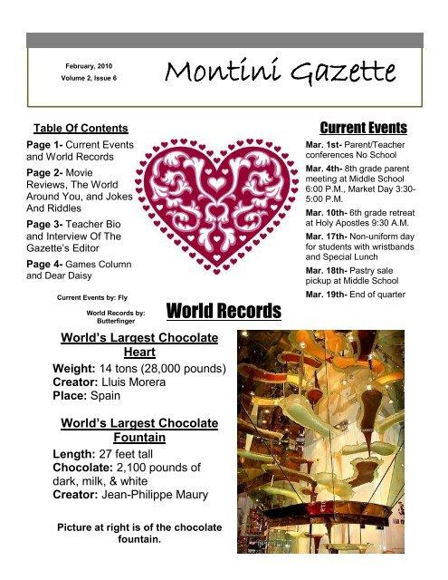 Montini Gazette- Feb Issue - Montini Catholic School