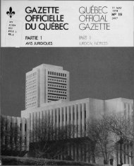 GAZETTE OFFICIELLE DU QUÉBEC GAZETTE - Internal System Error