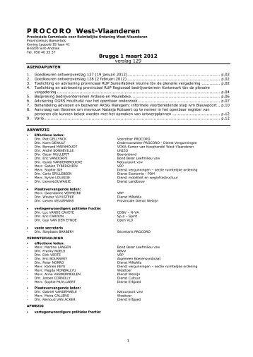 verslag nr. 129 - vergadering van 1 maart 2012 - Provincie West ...