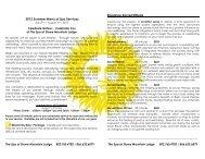 2012 Summer Menu of Spa Services Signature Sacred Rituals