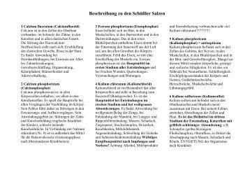 Beschreibung zu den Schüßler Salzen - Sun-Flower.at