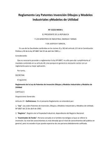 Reglamento Ley Patentes Invención Dibujos y Modelos Industriales ...