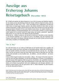 Auszüge aus Erzherzog Johanns Reisetagebuch (November 1815)