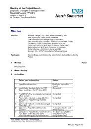 Project Board Minutes - 22nd July 2010 - North Somerset PCT