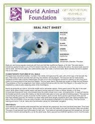 SEAL FACT SHEET - World Animal Foundation