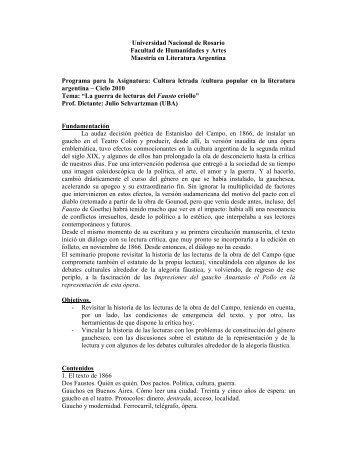 Programa La Guerra de las lecturas del fausto criollo ... - Celarg.org