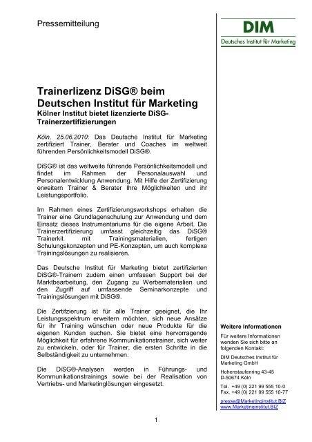Trainerlizenz DiSG® beim Deutschen Institut für Marketing