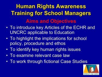 Human Rights Awareness Training for School Managers