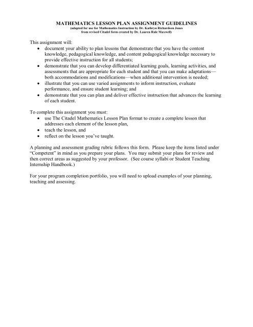 NCTM Citadel Lesson Plan form - The Citadel