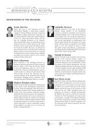 Biographies of the Speakers - Democracy & Security