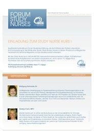 Einladung zum Study Nurse Kurs 1 - Forum Study Nurses ...