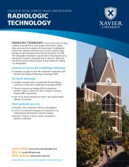 RADIOLOGIC TECHNOLOGY - Xavier University