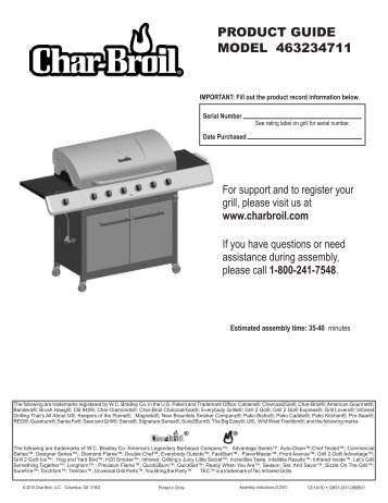 PRODUCT GUIDE MODEL 463234711 - Char-Broil Grills