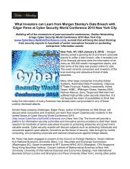 What Investors can Learn from Morgan Stanley's Data Breach with Edgar Perez at Cyber Security World Conference 2015 New York City
