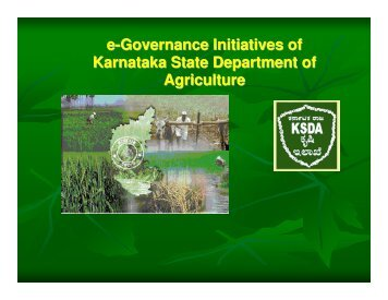 e-Governance Initiatives of Karnataka State Department of Agriculture