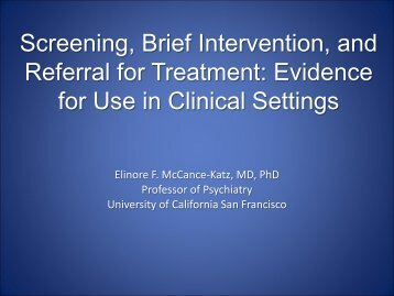 Screening, Brief Intervention, and Referral for Treatment - PCSS-O