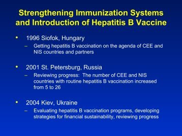 Country Experiences with Hepatitis B Vaccination - Viral Hepatitis ...