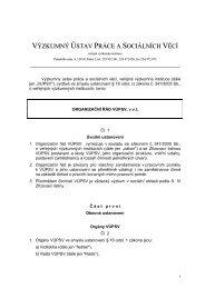 Organizační řád VÚPSV, v.v.i. - Výzkumný ústav práce a sociálních ...