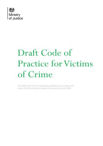Draft Code of Practice for Victims of Crime - Gov.uk