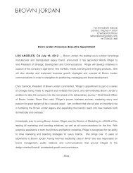 July 16, 2012 Brown Jordan Announces Executive Appointment