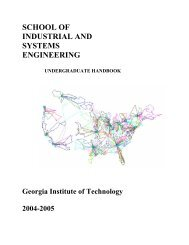 school of industrial and systems engineering - H. Milton Stewart ...