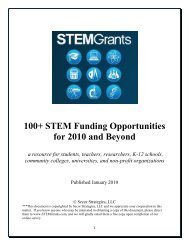100+ STEM Funding Opportunities for 2010 and Beyond