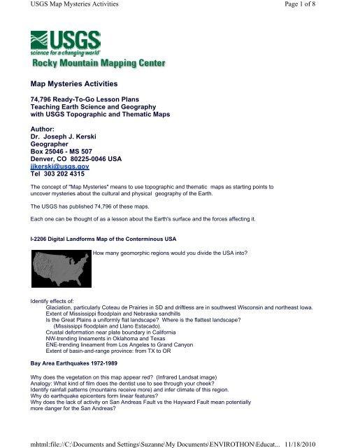USGS Map Mysteries Activities - North American Envirothon
