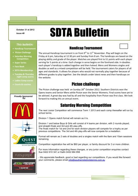 Issue 48 2 - Southern Districts Tennis Association