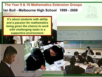 The Year 9 & 10 Mathematics Extension Group - AAEGT