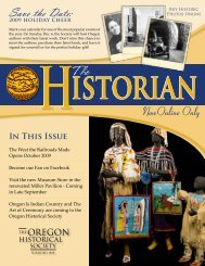 Save the Date: - Oregon Historical Society