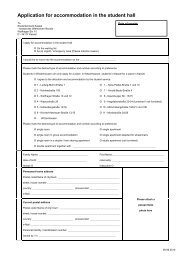 Application for accommodation in the student hall - Studentenwerk ...