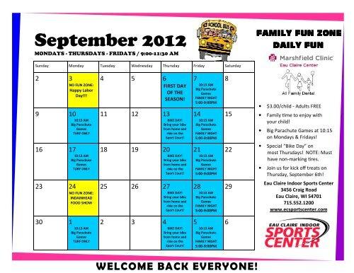 Eauclaire Indoor Sports Center Halloween 2020 Sept thru Dec Calendar 2012.pub   Eau Claire Indoor Sports Center