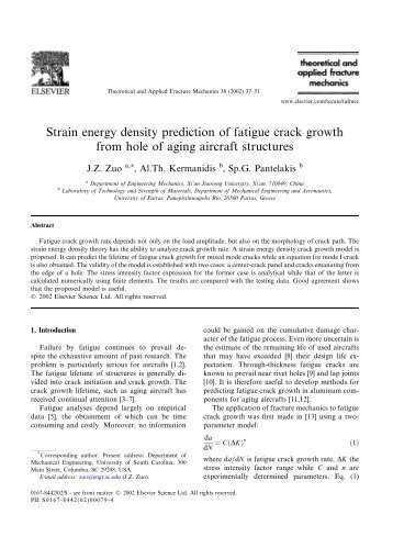 Strain energy density prediction of fatigue crack growth from hole of ...