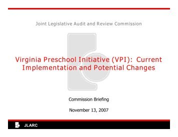 VPI - Virginia Joint Legislative Audit and Review Commission