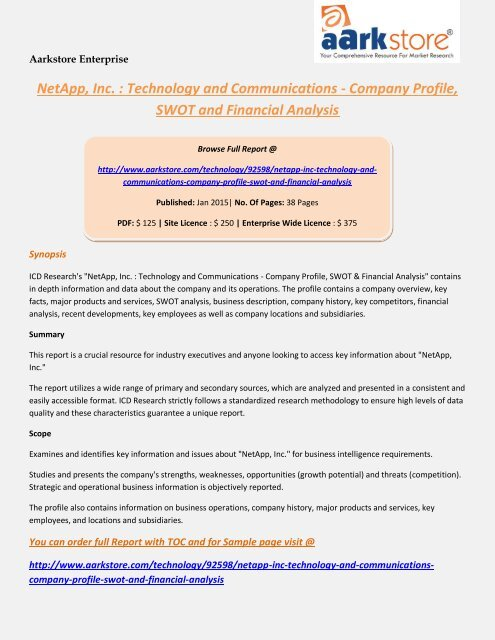 Aarkstore - NetApp, Inc. : Technology and Communications - Company Profile, SWOT and Financial Analysis