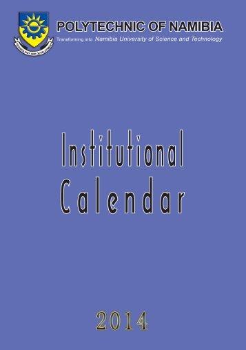 Academic Calendar 2012 - Polytechnic of Namibia