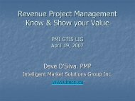 Revenue Project Management Know & Show your Value - gt islig