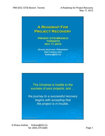 Roadmap for Project Recovery - gt islig