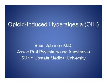 Opioid-Induced Hyperalgesia (OIH) - PCSS-O