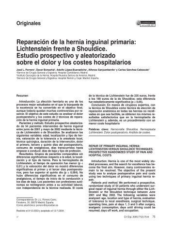 Reparación de la hernia inguinal primaria: Lichtenstein frente a ...