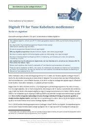 Digitalt TV for Tune Kabelnets medlemmer