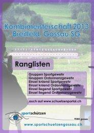 Rangliste Kombimeisterschaft 2013 - Sportschützen Gossau