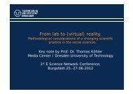 From lab to (virtual) reality. - eScience – Forschungsnetzwerk Sachsen