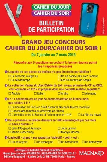 Bulletin Cahier Jour-Soir 2013:v - Magnard