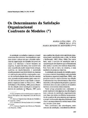 Os Determinantes da Satisfação Organizacional Confronto de ...