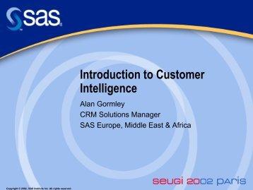Introduction to Customer Intelligence - sasCommunity.org
