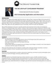 the big jon platt scholarship program - The Denver Foundation