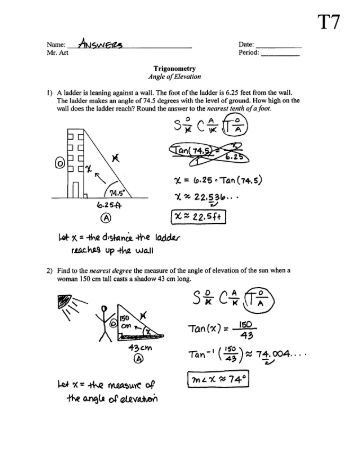 Printables Angle Of Elevation And Depression Worksheet lesson 6 angles of elevation and depression trigonometry angle t7 answers pdf