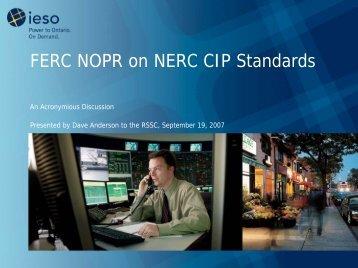 FERC NOPR on NERC CIP Standards - IESO