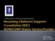 Becoming a Behavior Supports Consultation NOW/COMP Waiver Service ...